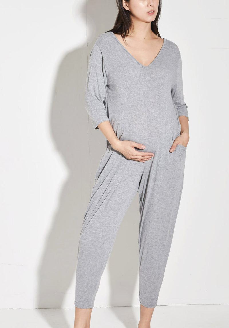 MOCHI NURSING GAUZE KNIT JUMPSUIT