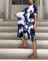 PLEATED WATER PAINT DRESS