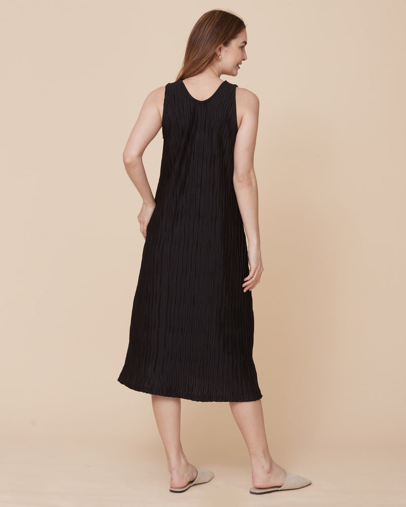 PLEATED FLARE MIDI DRESS