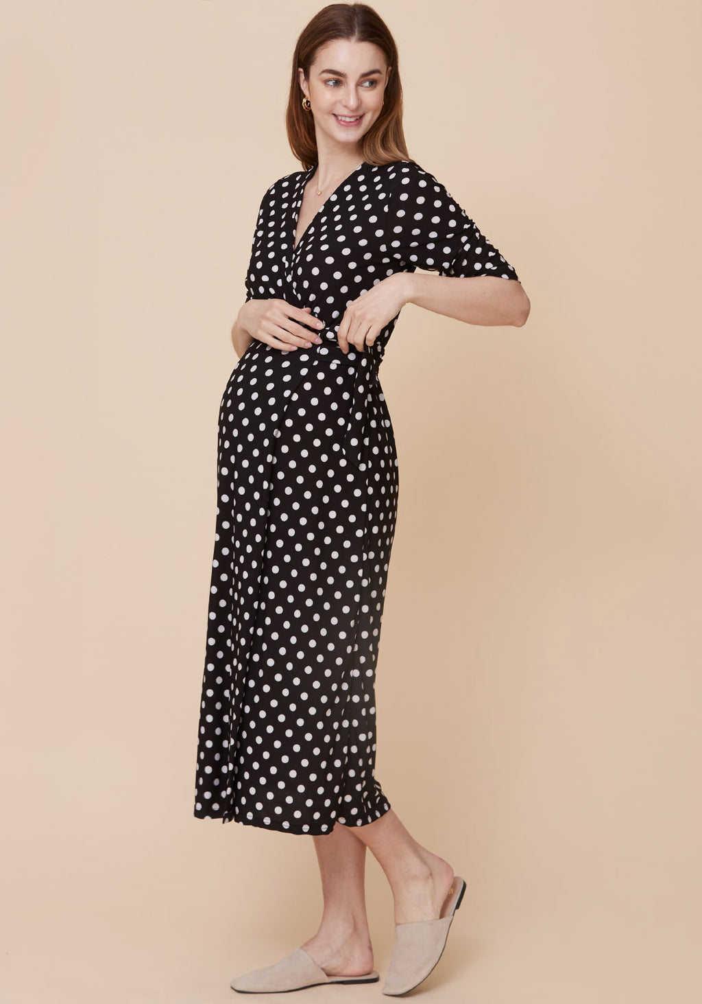 POLKA DOT NURSING WRAP DRESS