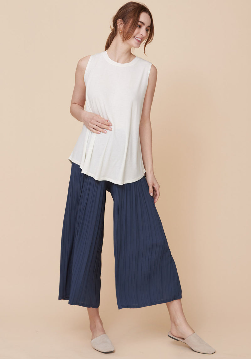 PLEATED WIDE CHIFFON PANTS