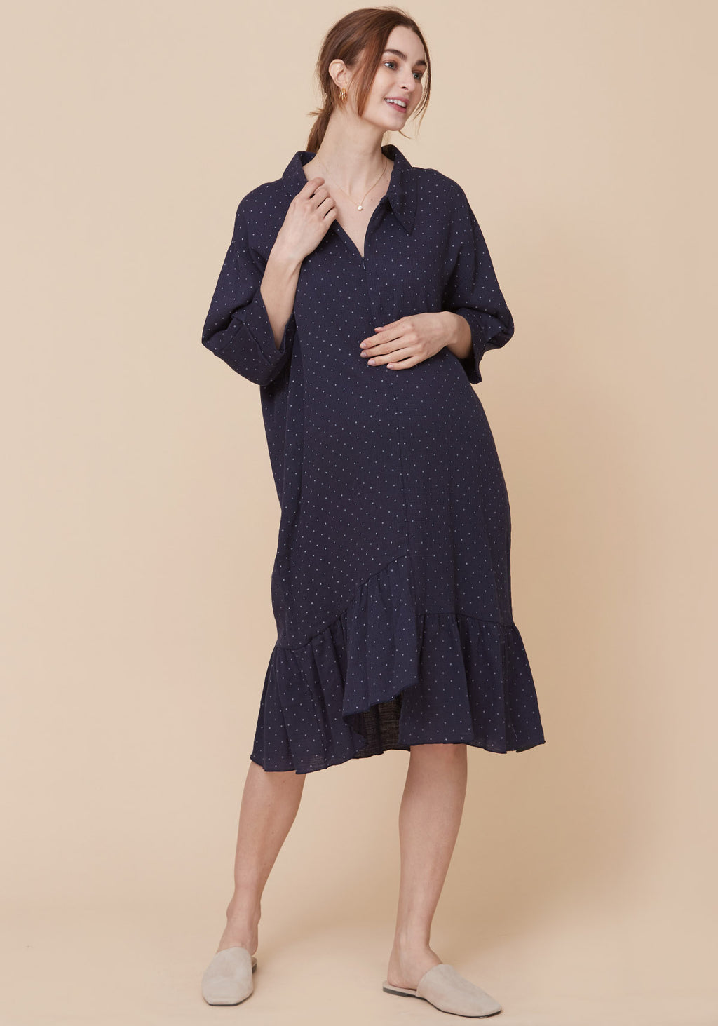 GAUZE ZIPPERED NURSING DRESS
