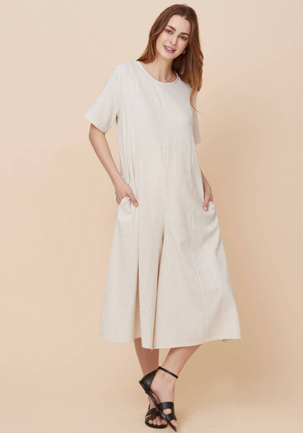 WIDE BOTTOM LINEN JUMPSUIT