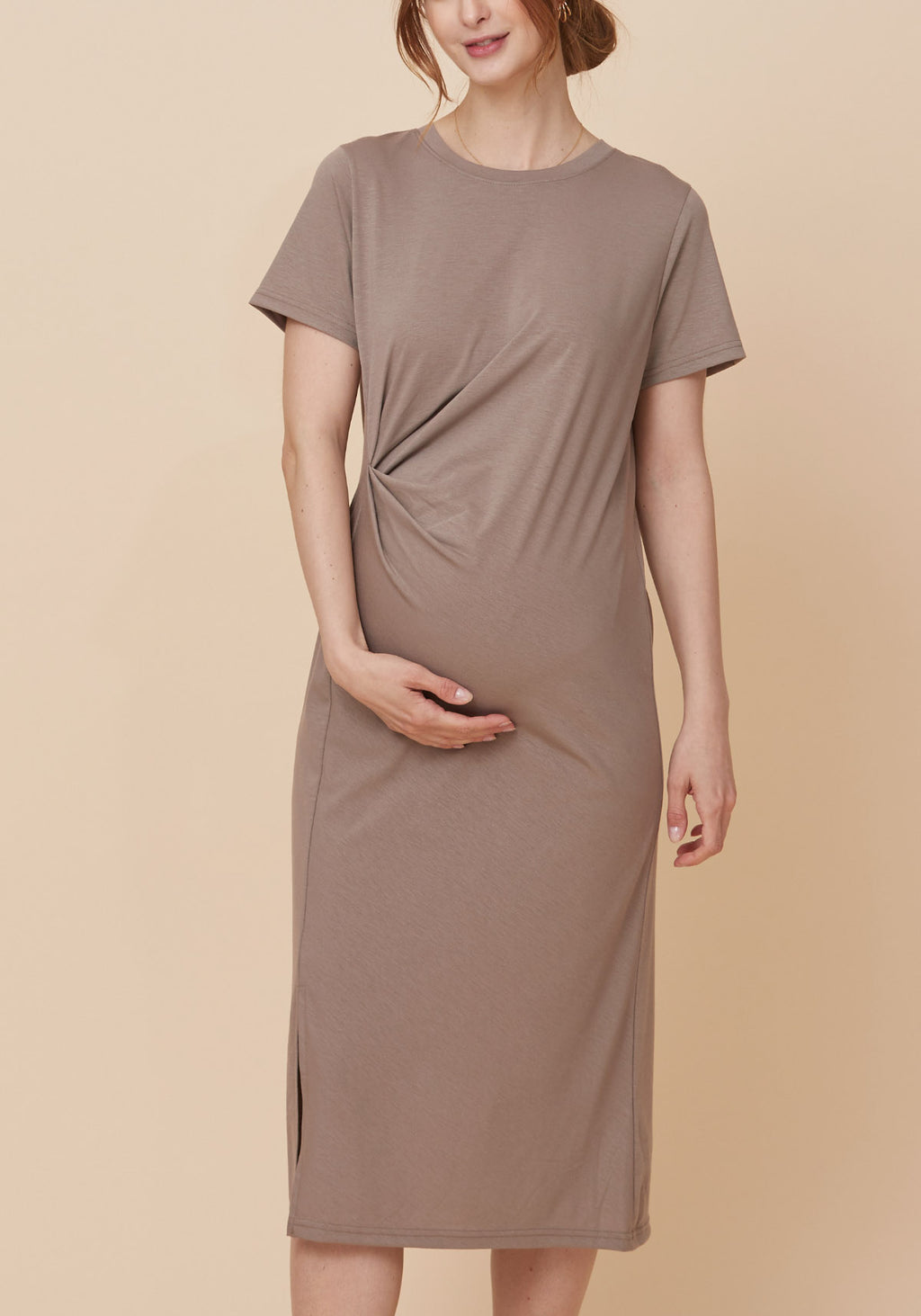 RUCHED PENCIL JERSEY DRESS
