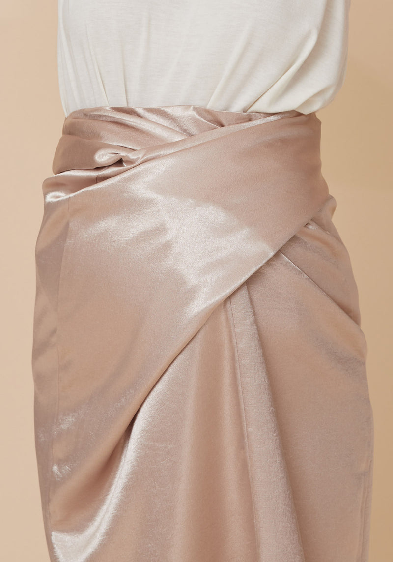 ILLUSION WRAP SATIN SKIRT