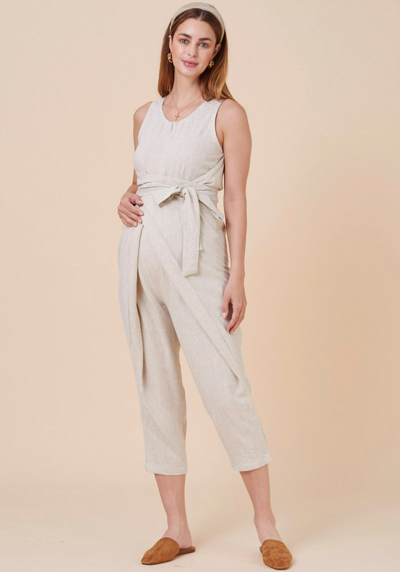 WRAP WASHED LINEN NURSING JUMPSUIT