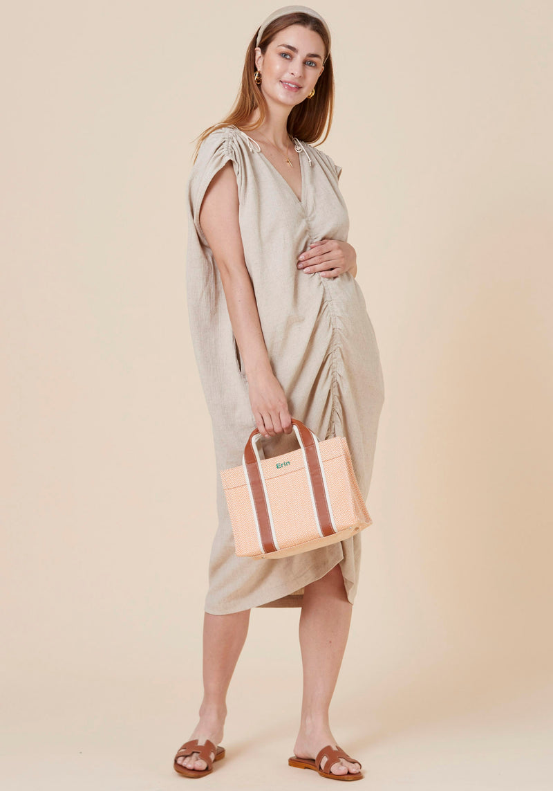 LUXE RUCHED LINEN DRESS