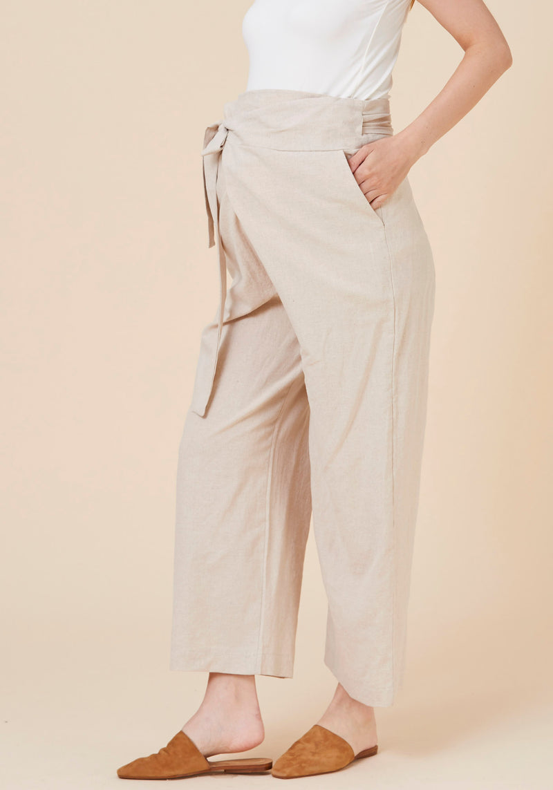 WASHED COTTON WRAP PANTS