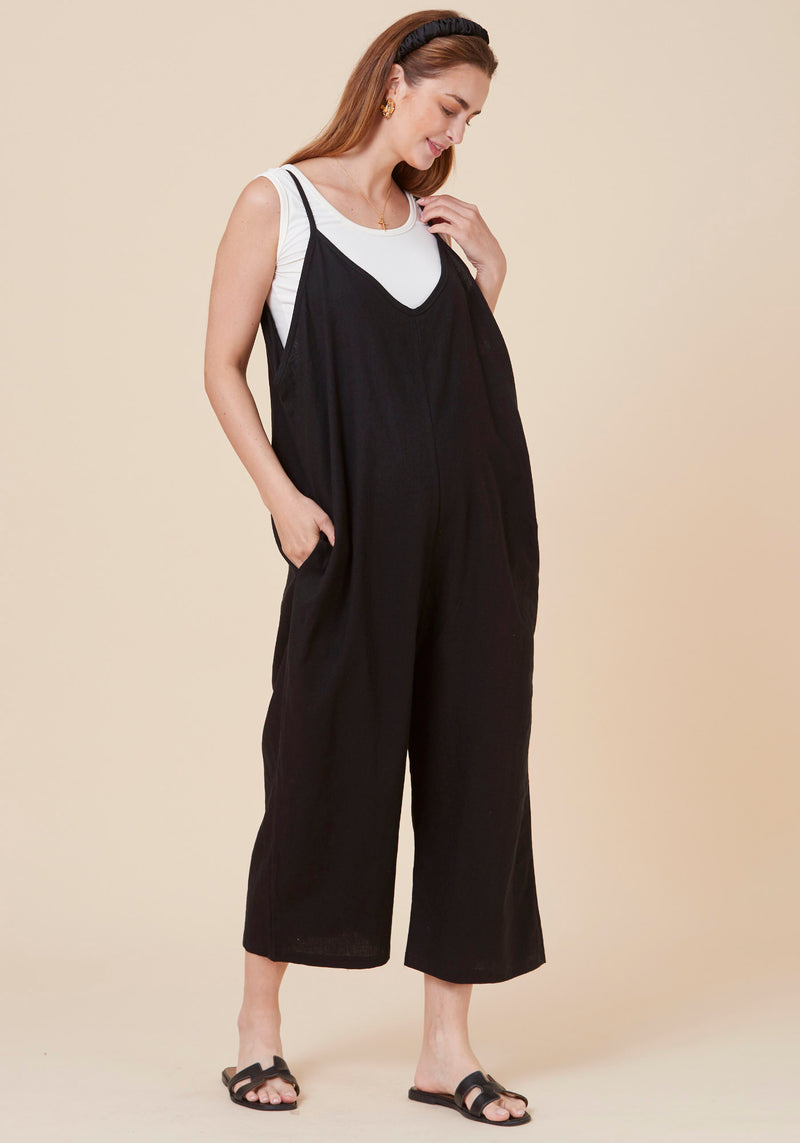LOOSE LAYERING LINEN JUMPSUIT