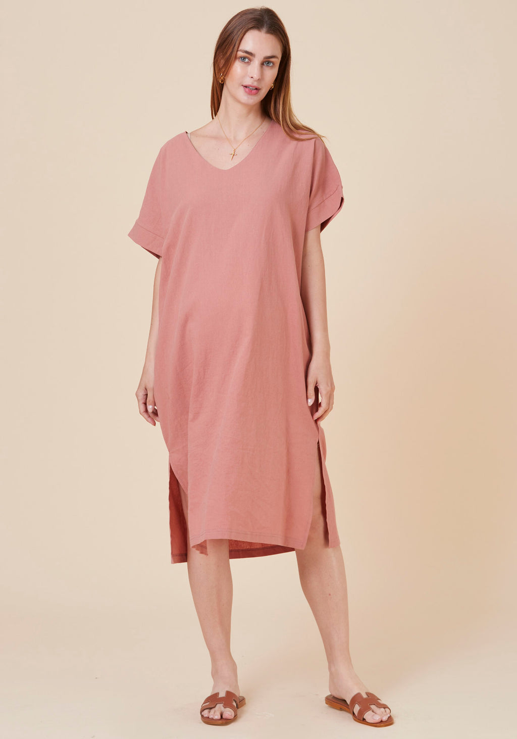 V-NECK WASHED LINEN SHIFT DRESS