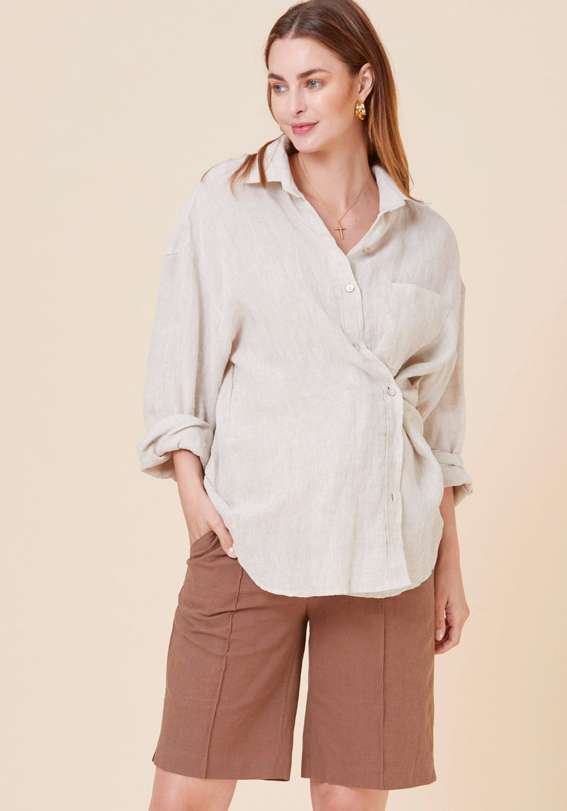 LUXE 2-WAY BOYFRIEND LINEN SHIRT