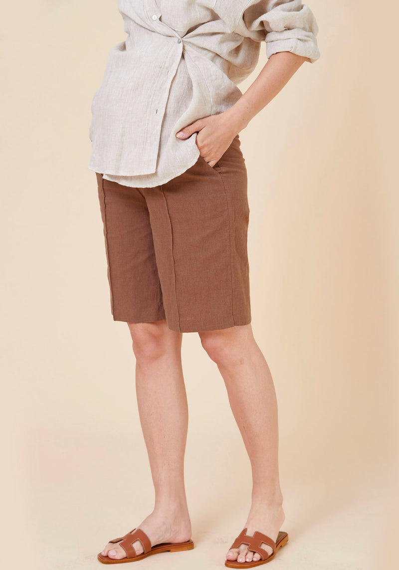 LINEN PIN-TUCK SHORTS