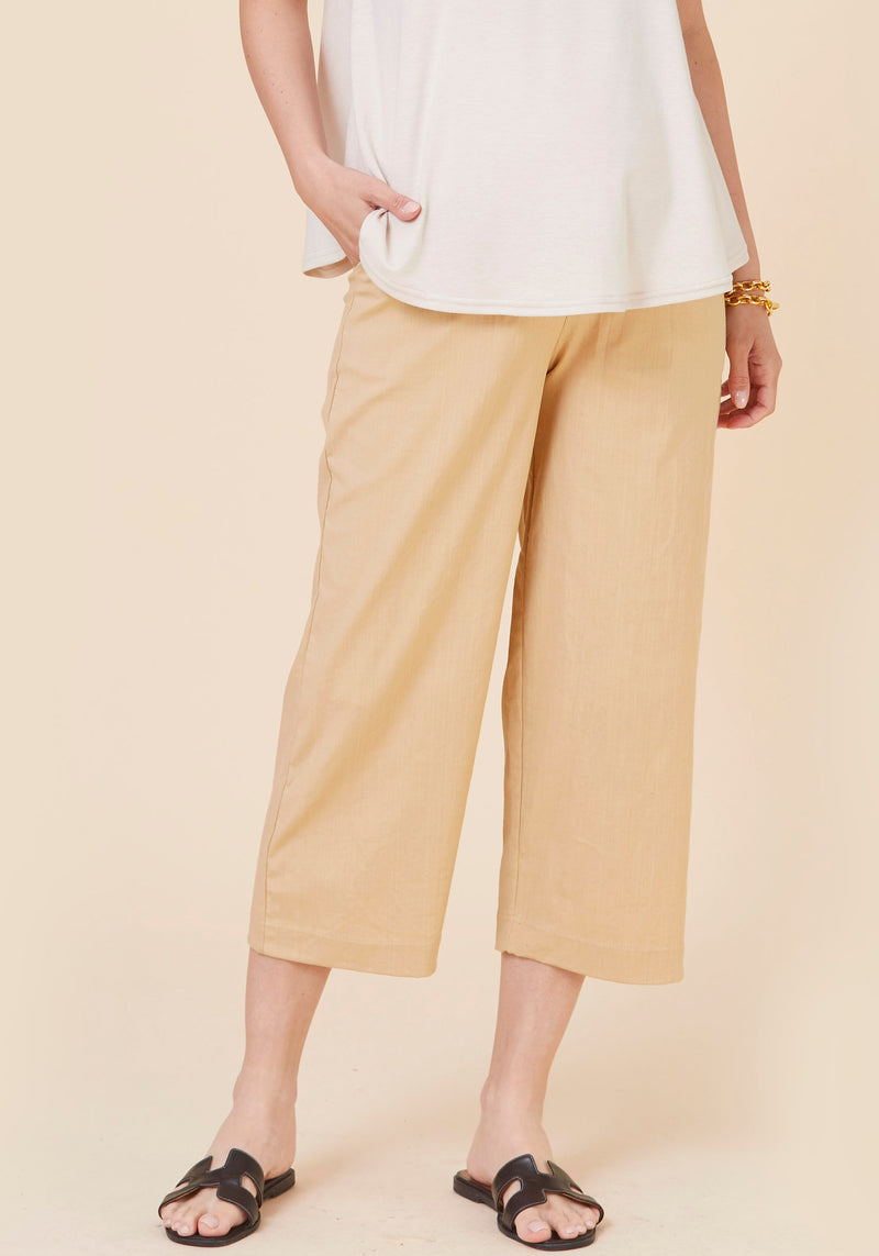CROPPED ELASTIC LINEN PANTS