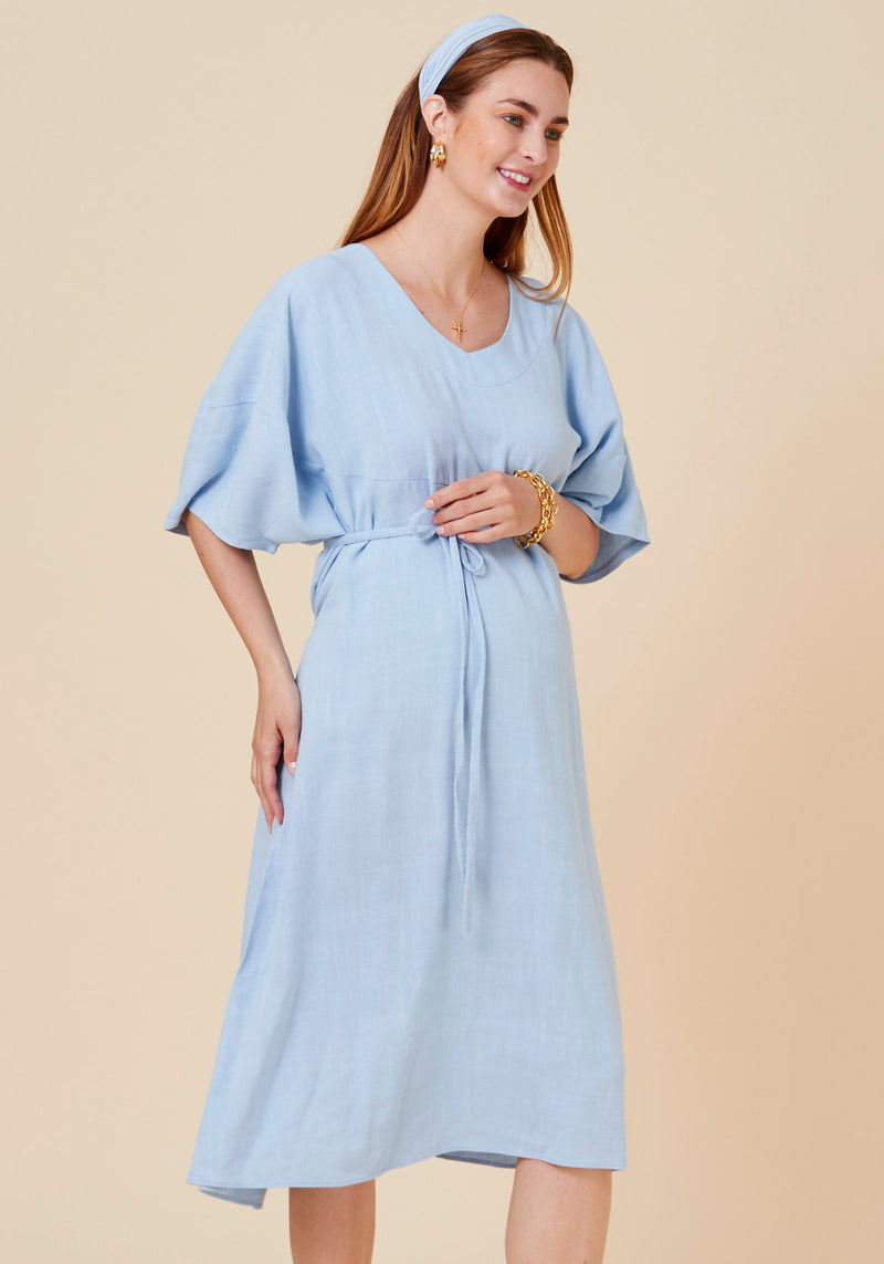 SOFT WASHED LINEN MIDI DRESS