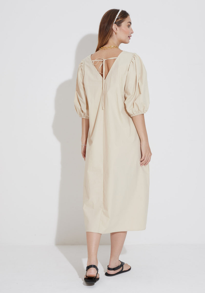 PUFF SLEEVE POPLIN DRESS