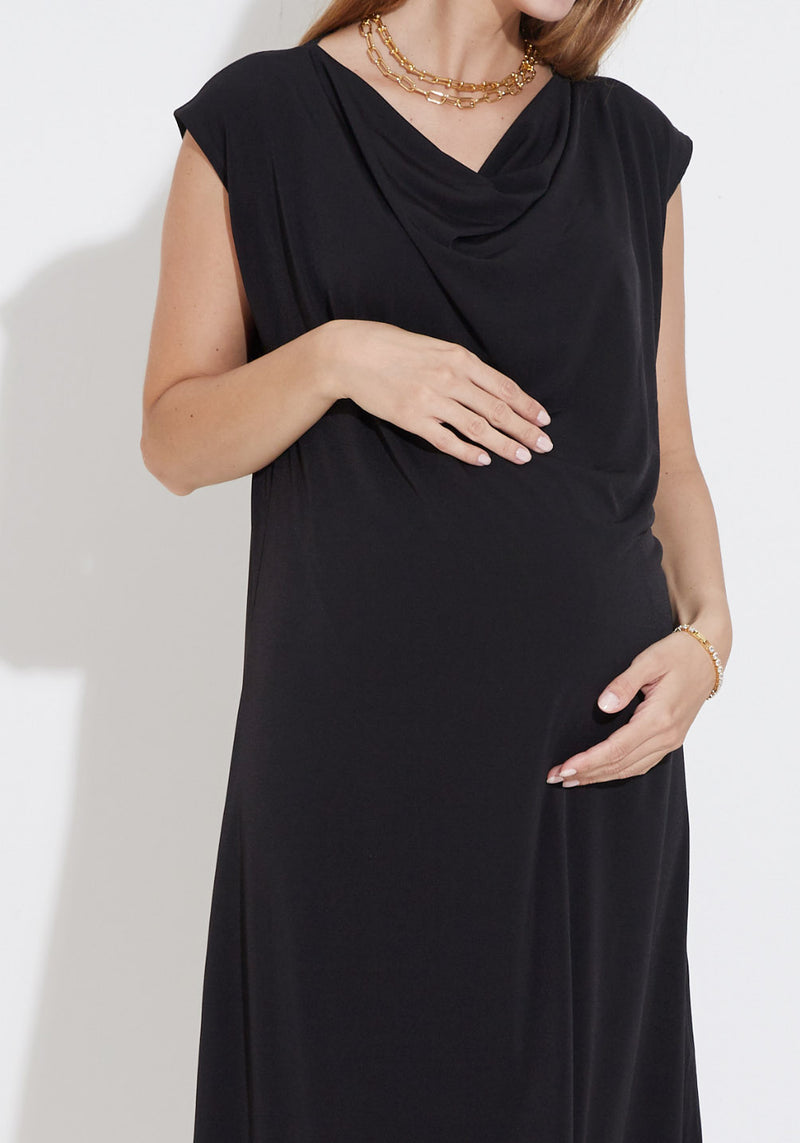 DRAPED SLINKY JERSEY DRESS