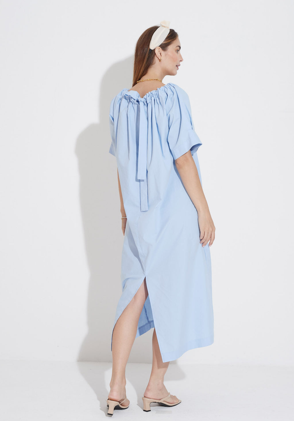 RIBBON POPLIN DRESS