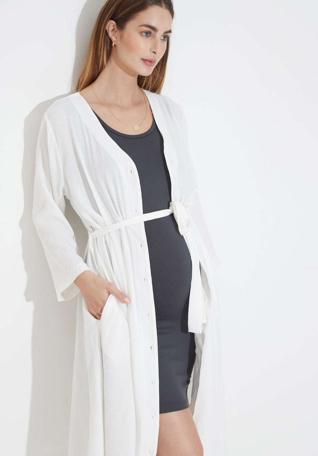CREPE NURSING ROBE DRESS