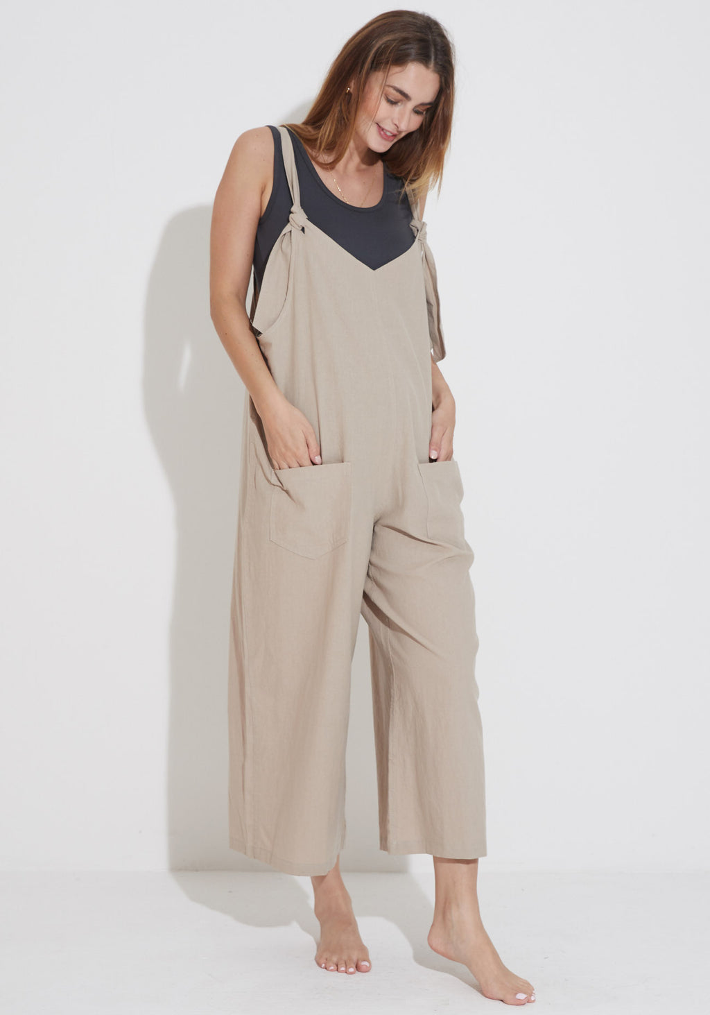 LOOSE LINEN LAYERING JUMPSUIT