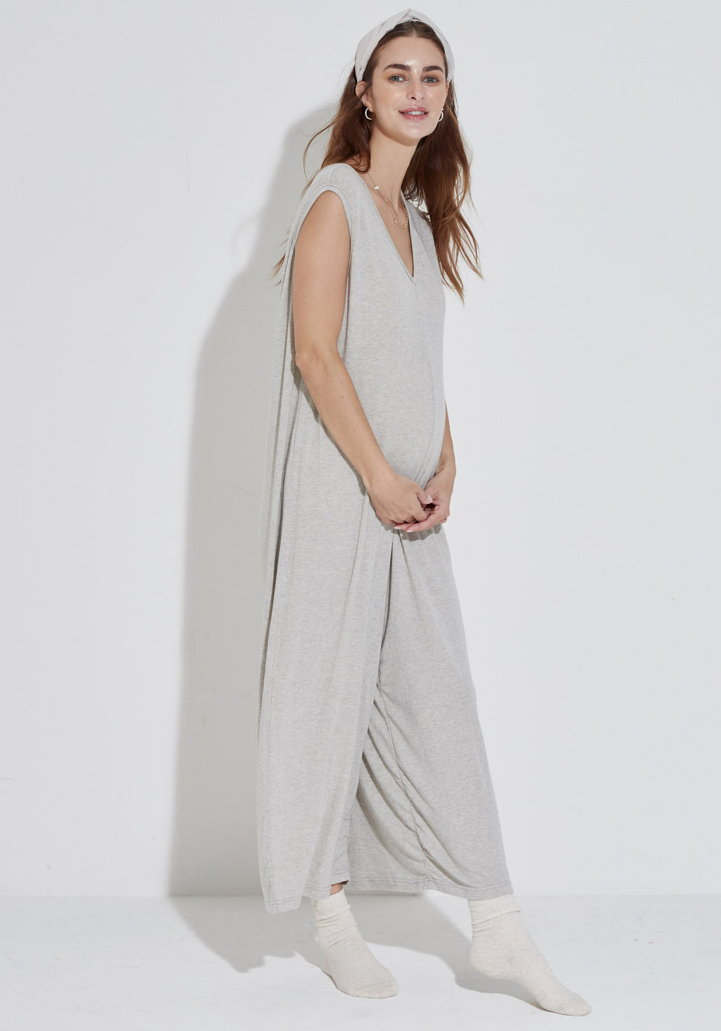 SOFT ANGORA GAUZE KNIT JUMPSUIT