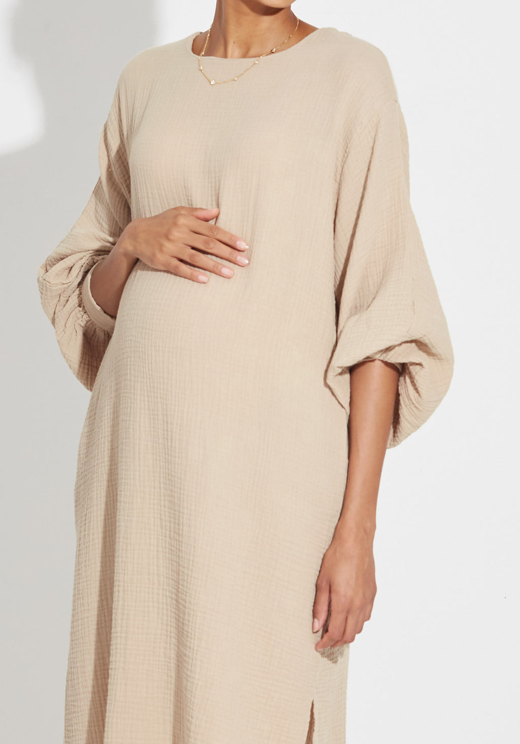 BALLOON SLEEVE GAUZE DRESS