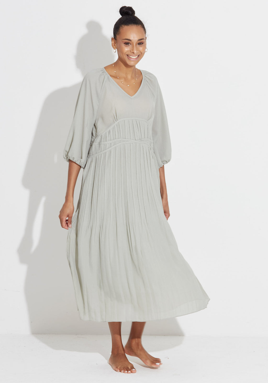 CRINKLED GAUZE MAXI DRESS