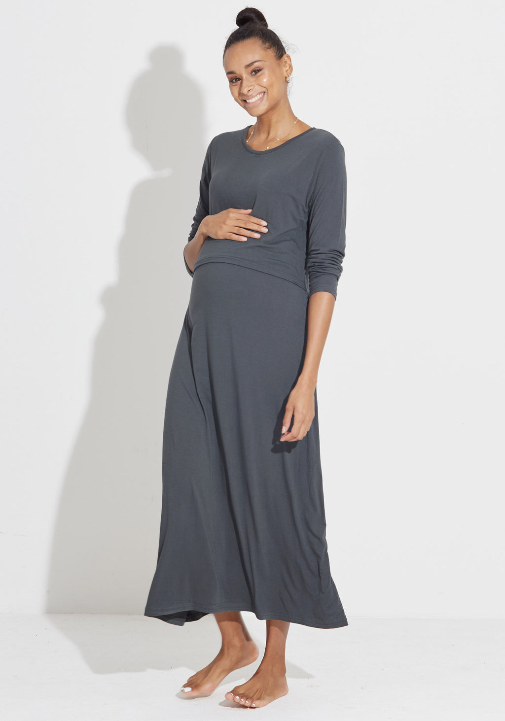 FLAP JERSEY NURSING DRESS