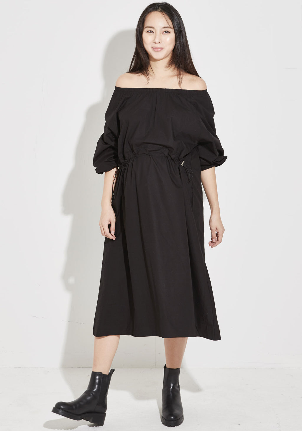 ELASTIC DRAWSTRING POPLIN DRESS