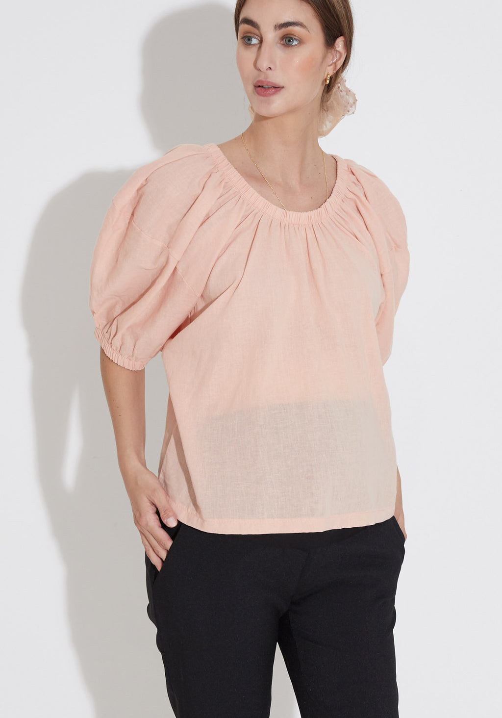 LINEN NURSING TOP