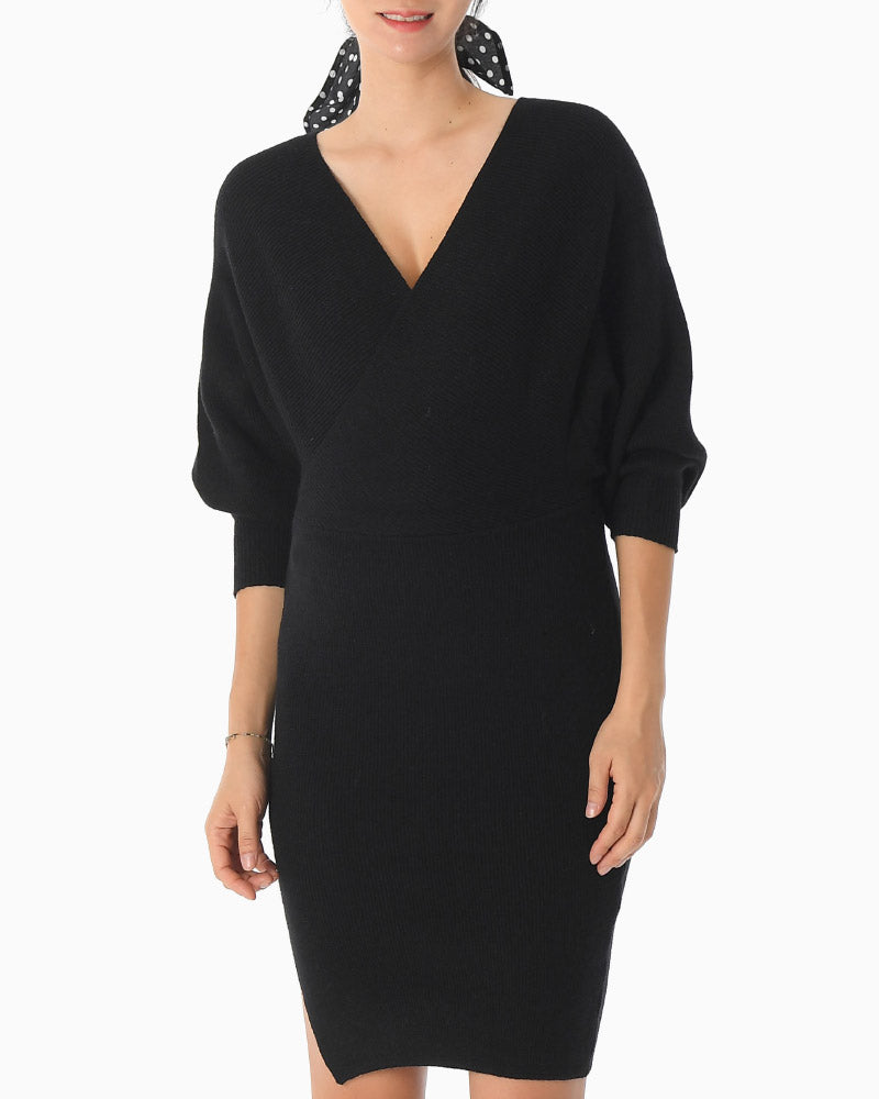 BALLOON SLEEVE NURSING KNIT DRESS