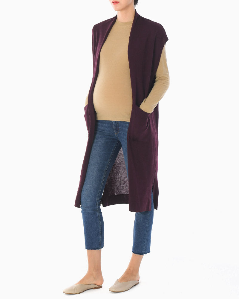 KNIT LONG VEST CARDIGAN