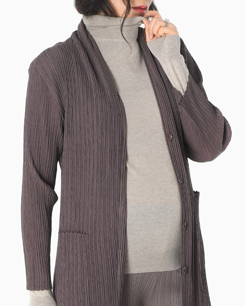 PLEATED SHAWL COLLAR CARDIGAN