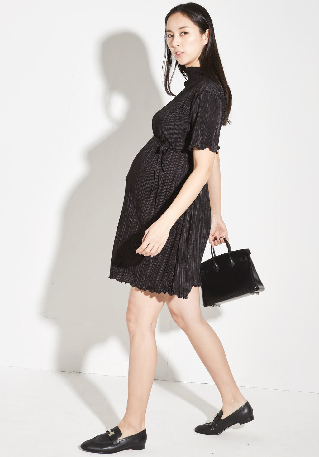 RUFFLED & PLEATED MINI DRESS