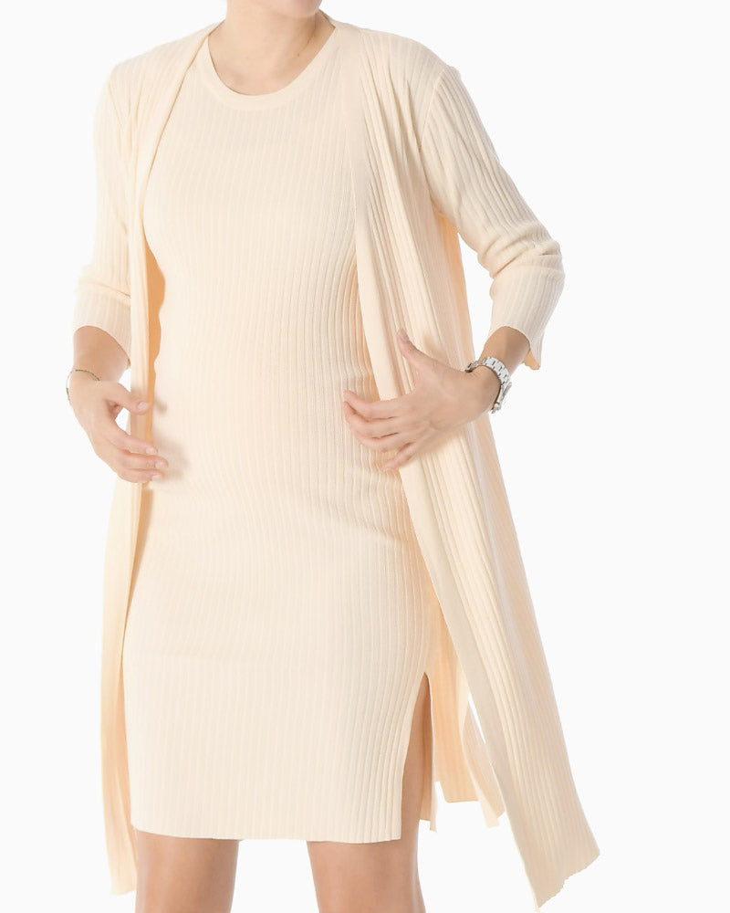 WIDE RIBBED KNIT DRESS & CARDIGAN SET