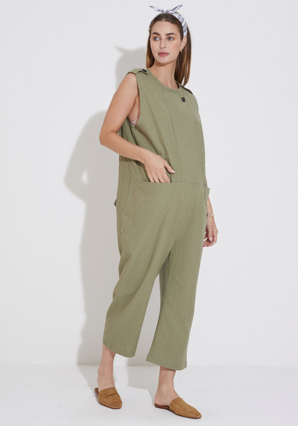 WASHED LINEN NURSING JUMPSUIT
