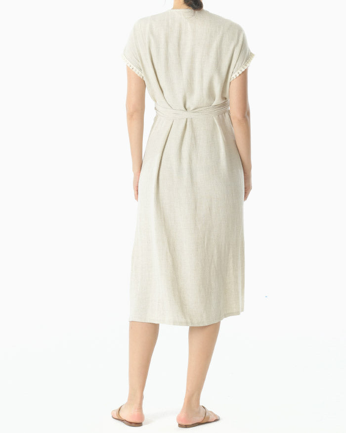 LINEN WRAP BELTED DRESS