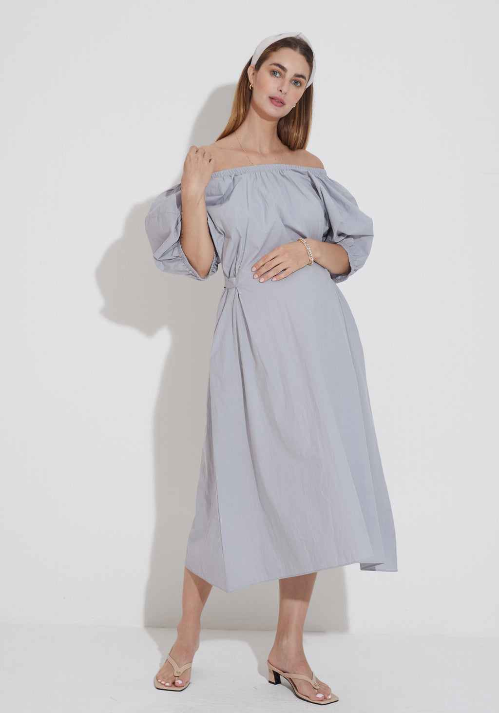 PUFF SLEEVE POPLIN NURSING DRESS