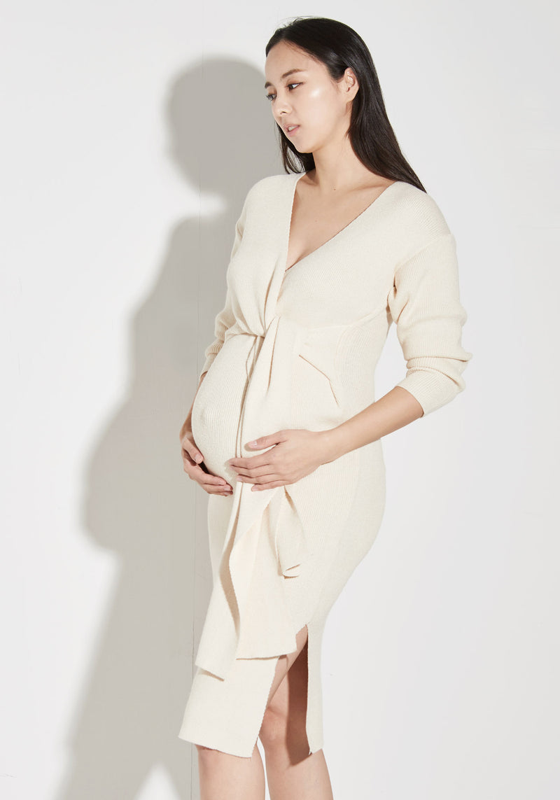 WRAP KNIT NURSING DRESS
