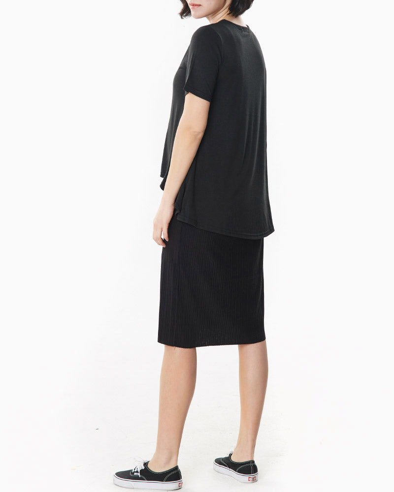 LAYERED PLEATED NURSING DRESS