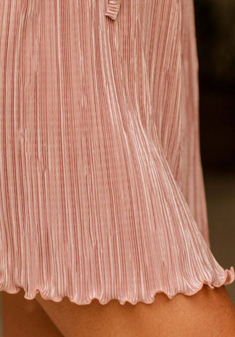 PLEATED BOAT NECK DRESS
