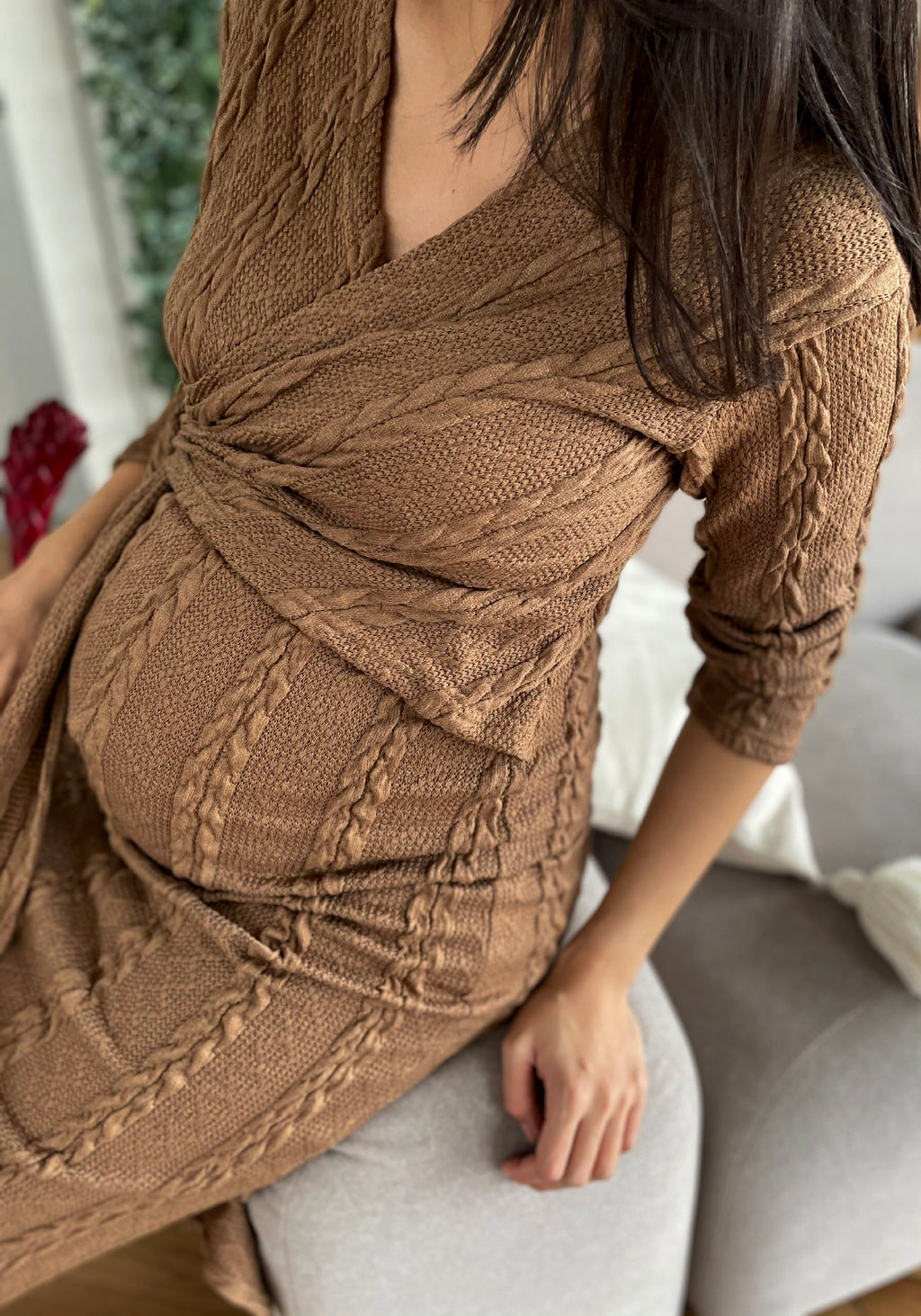 CABLE KNIT NURSING DRESS
