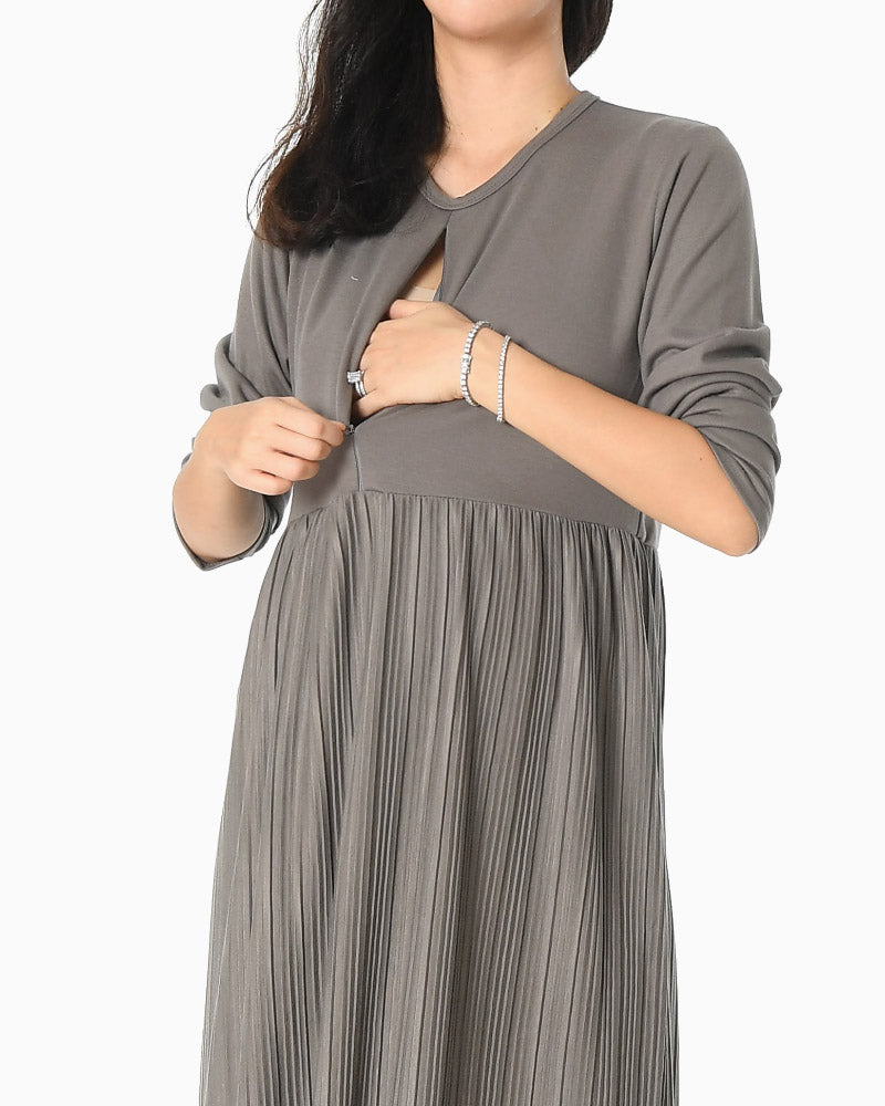 ZIPPERED PLEATED NURSING DRESS