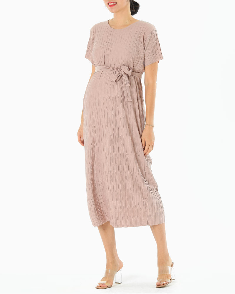 PLEATED BELT DRESS