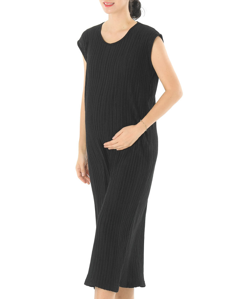 JERSEY PLEATED LONG DRESS