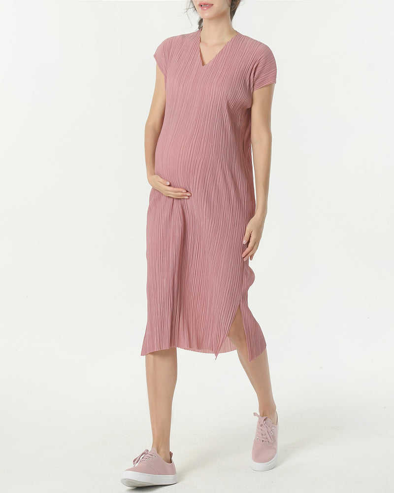 PLEATED V-NECK MIDI DRESS