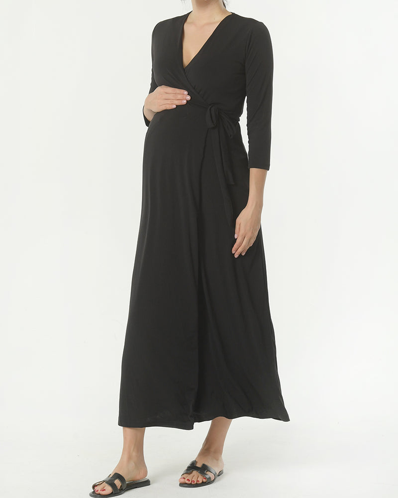 SLINKY JERSEY WRAP MAXI DRESS