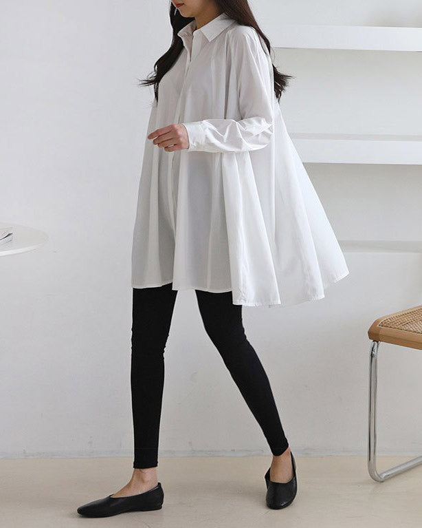 FLARED POPLIN BLOUSE