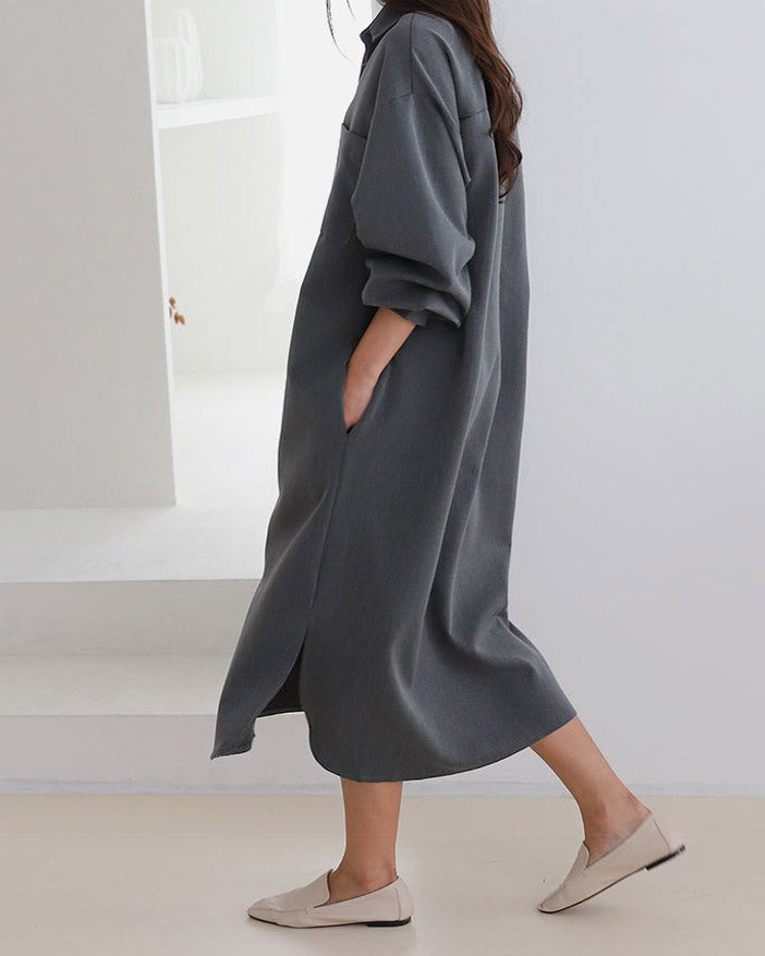 TWILL POCKET SHIRT DRESS