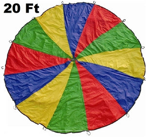 Cintz 20' Multicolored Play Parachute with 20 handles in a bag