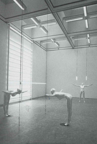 "Image from Hans Hollein's 1984 exhibition ""The Gymnastics Lesson."""